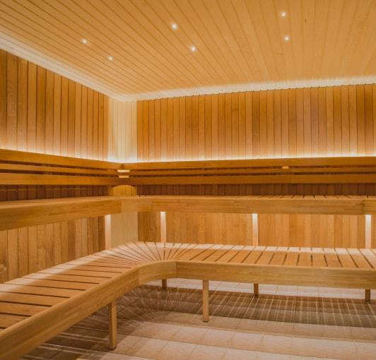 Wood sauna interior.