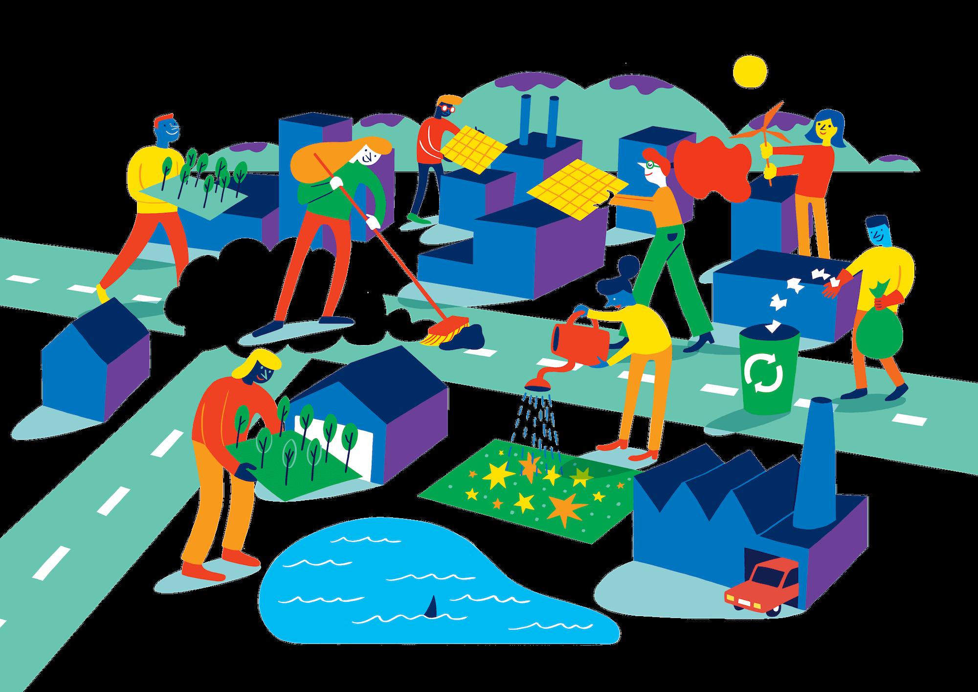 Illustrasjon av mennesker som jobber sammen for å skape bedre steder