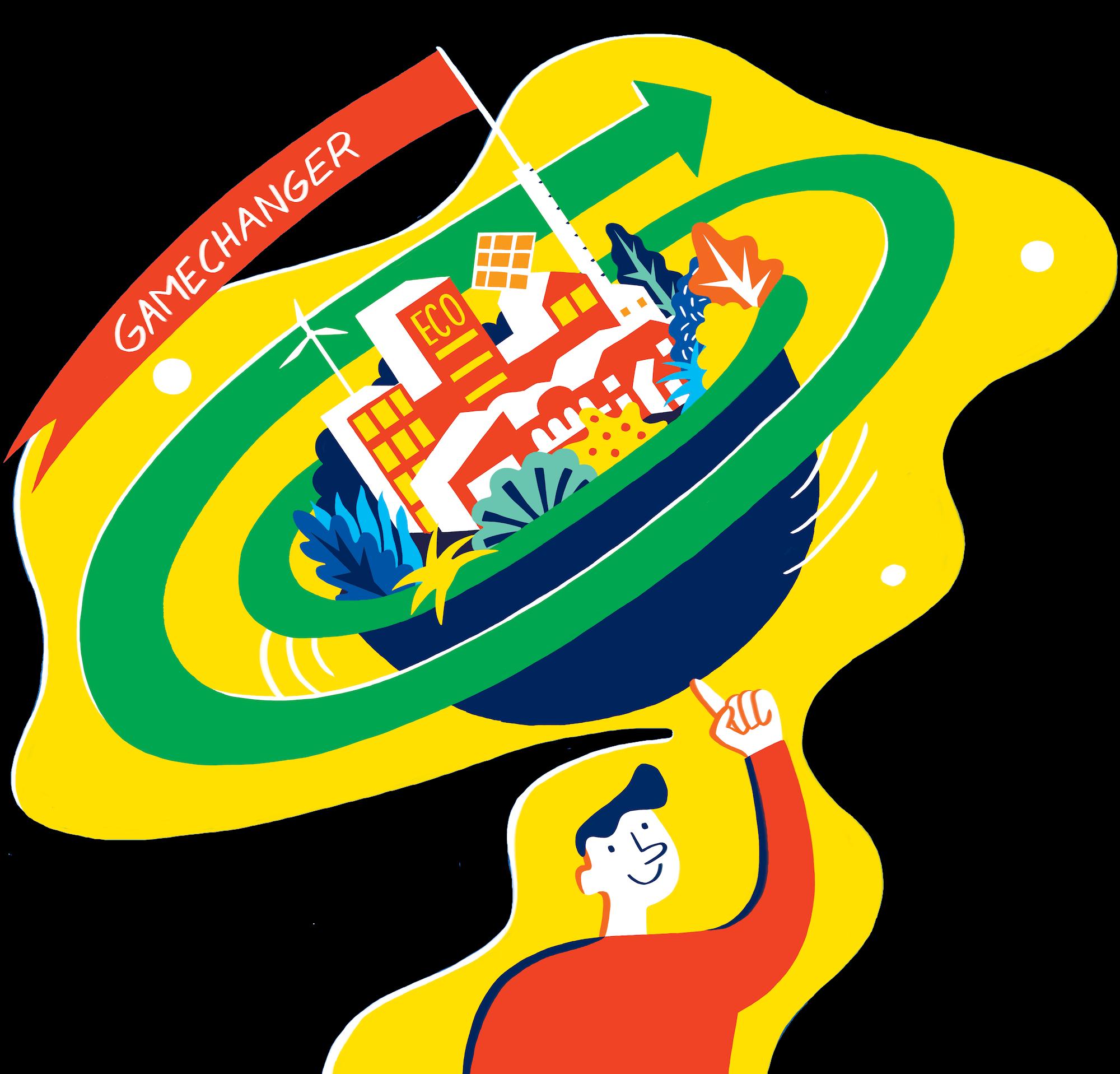 """Pådriv - Illustrasjon av mann og innovativ by med ordet """"Gamechanger"""""""