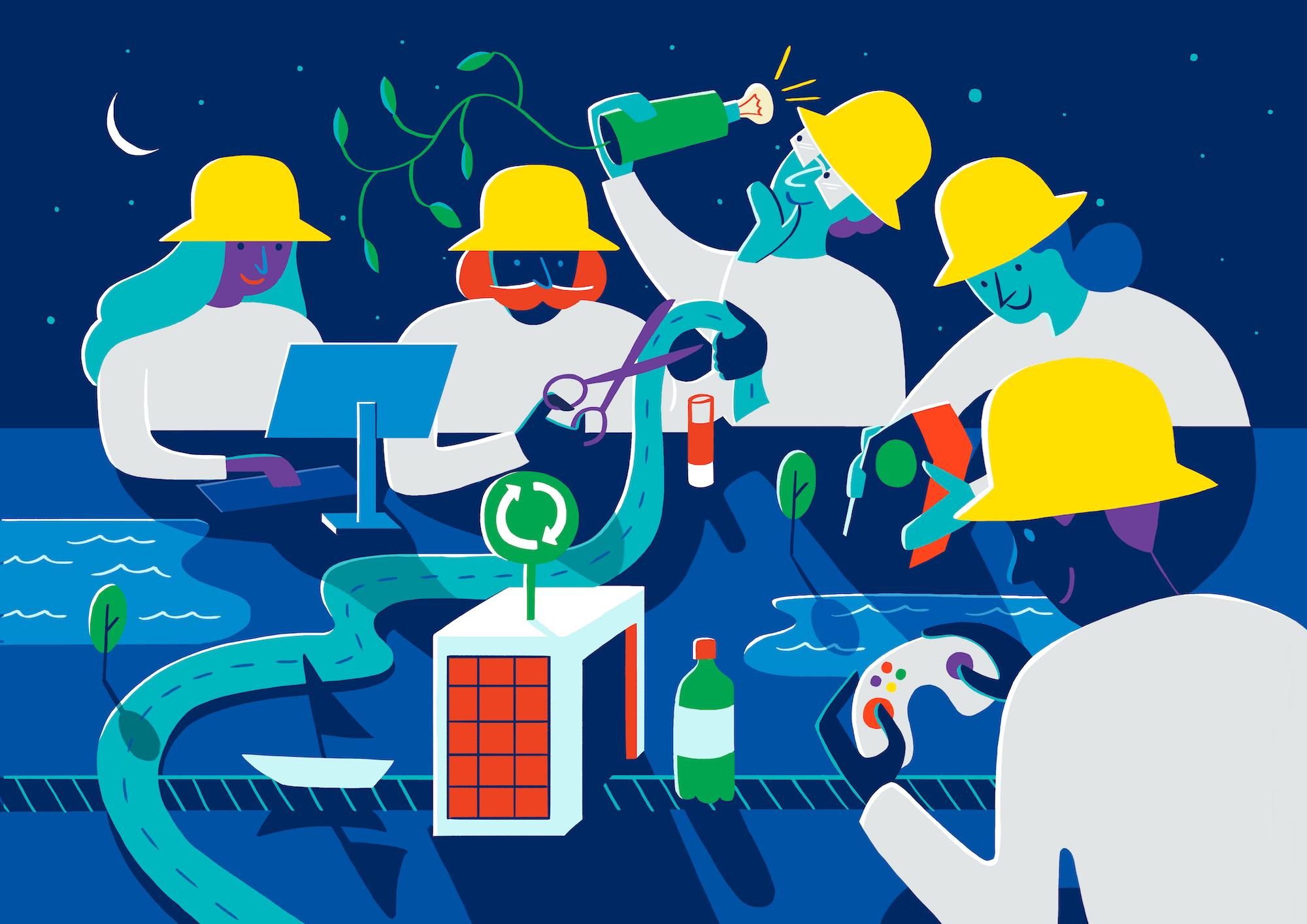 Illustrasjon av forskere som tester nye ting i en by
