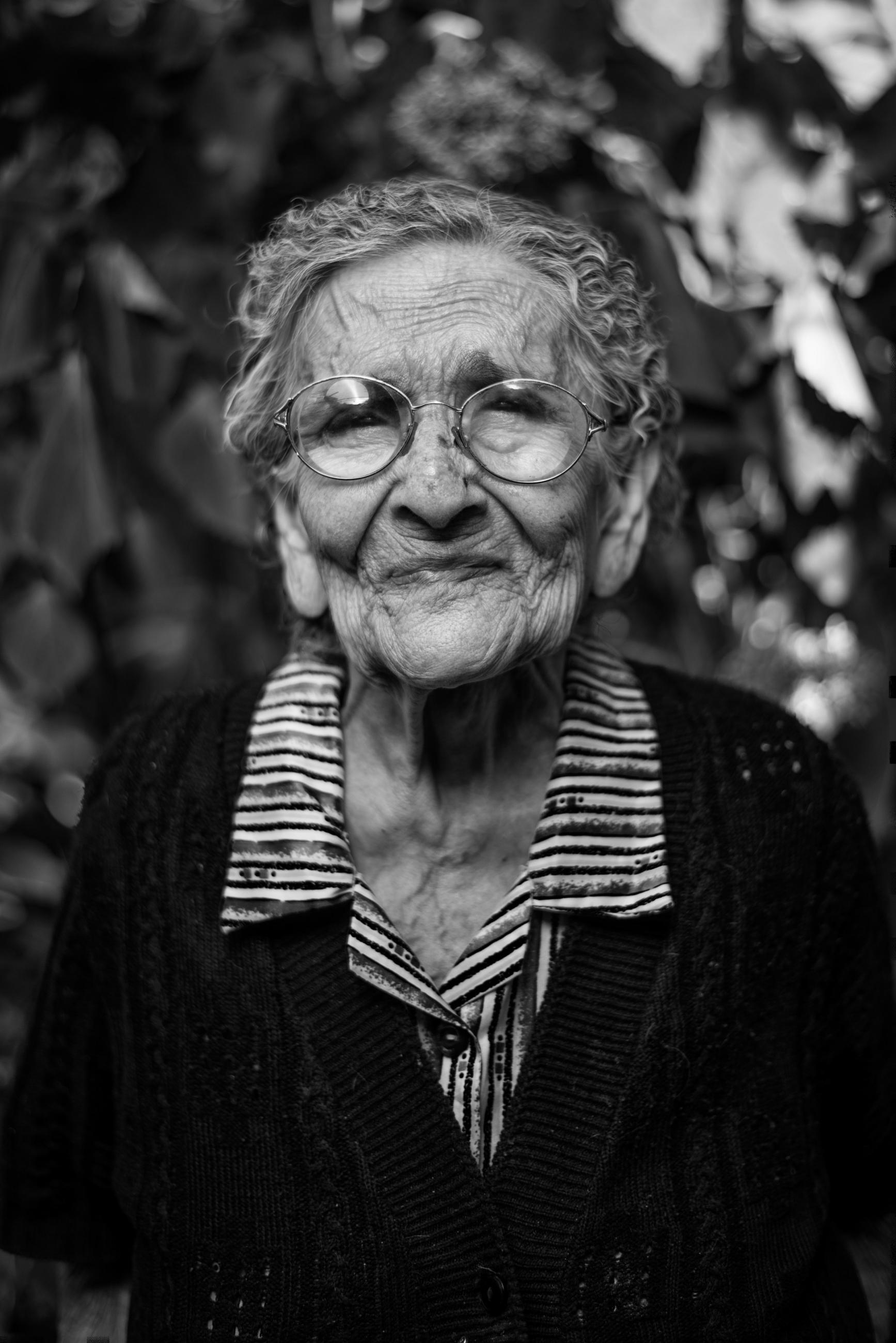 Older woman looking into camera