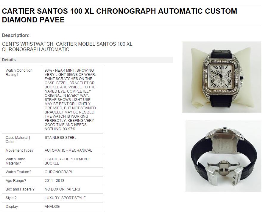 cartier watch pic and description