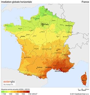 L'ensoleillement de votre région détermine votre potentiel de production photovoltaïque