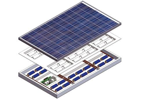 Le panneau solaire avec batterie intégrée est composé d'une batterie et d'un onduleur.