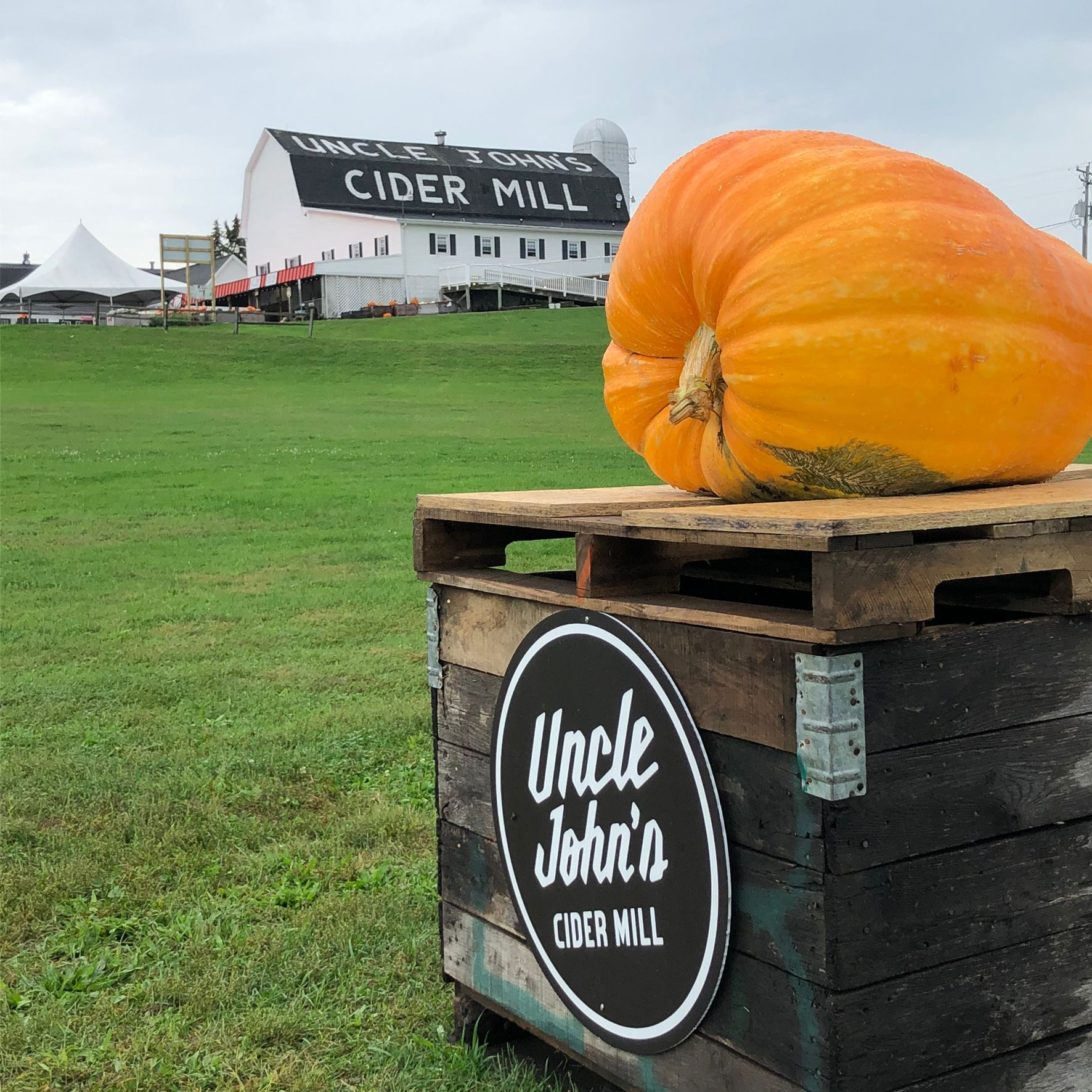 Uncle John's Cider Mill Pumkin with barn in background