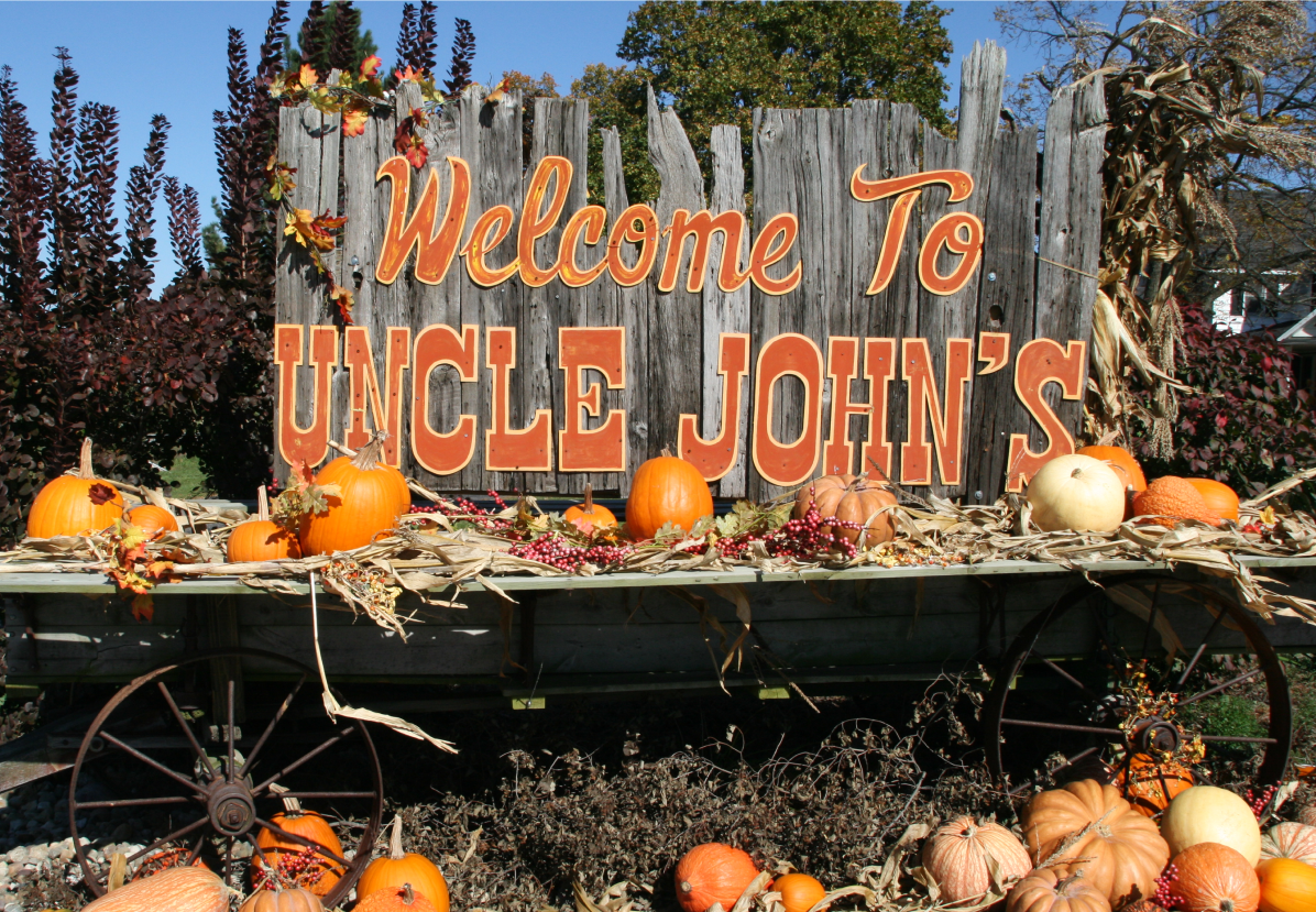 Uncle John's Cider Mill Welcome Sign