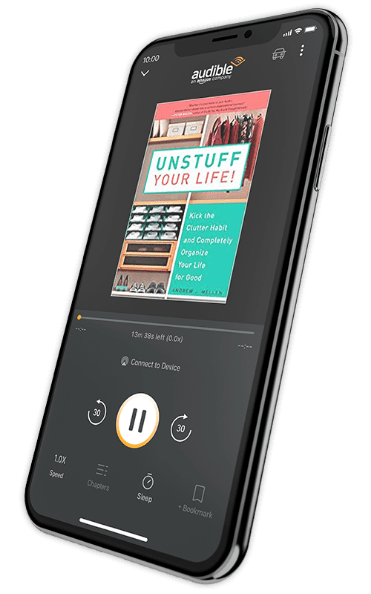 An iphone displaying the front page of 'Unstuff Your Life!' within the Audible app.
