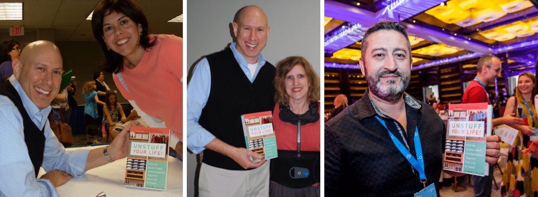 Collage of images displaying Andrew at book signings with fans, and images of people holding the book 'Unstuff Your Life'.