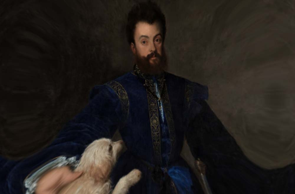 Renaissance painting of dandy with small dog