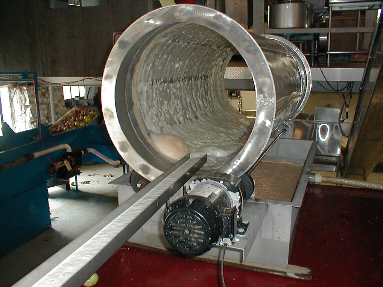 4. After the cider is squeezed from the apples, it runs through another filter, which takes out any remaining seeds, or large pectin particles. Once the cider passes this filter, it is immediately collected in a refrigerated stainless steel tank.