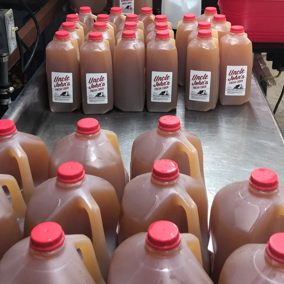 5. Once in the refrigerated tank, the cider will sit for 24 hours then be lab tested. From there it is pumped to our bottling line, where we package in gallon and half gallon containers.