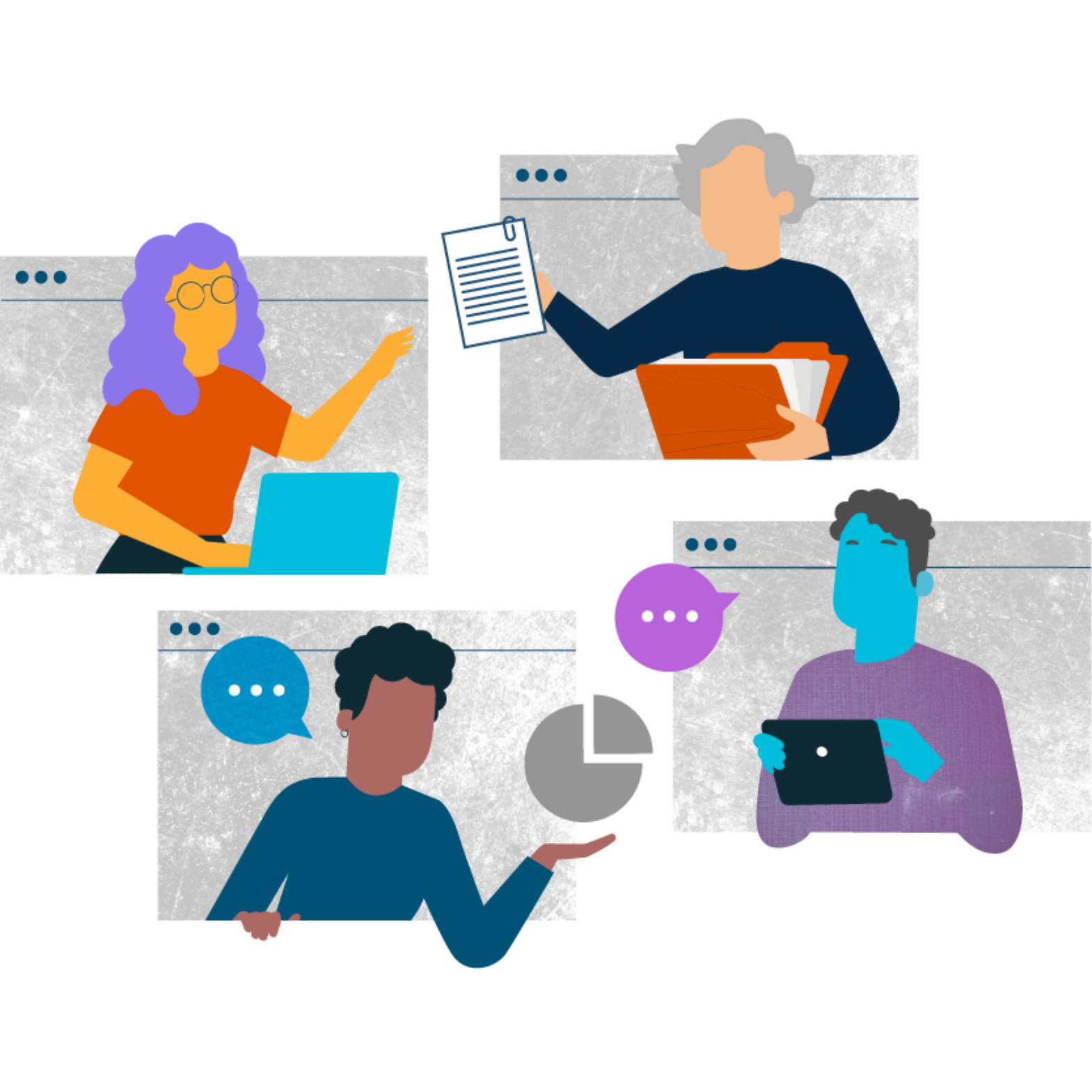 A group of diverse people chat at work illustration
