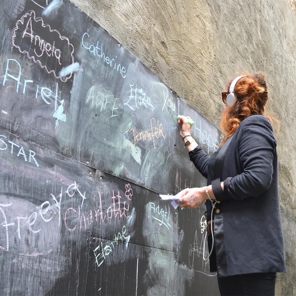 people blackboard scene