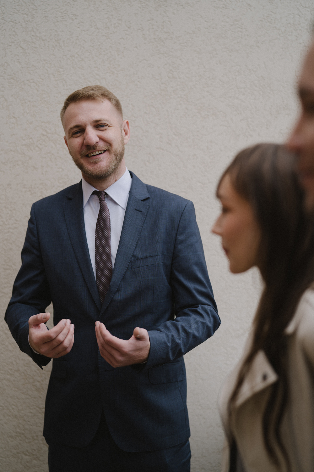 Business man talking to clients