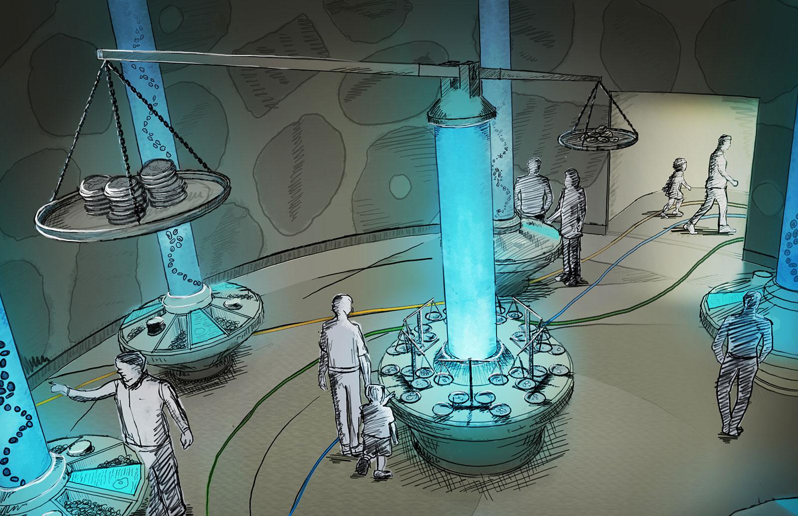 The Journey to Civilization - Museum Exhibit Design Concept Illustration