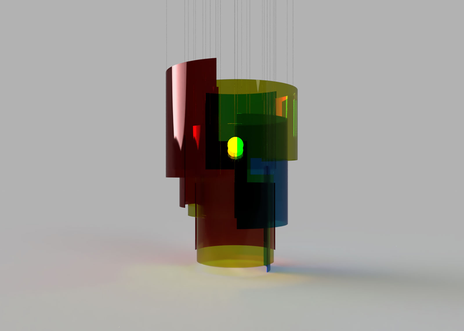 fusion render of a color blocked chandelier