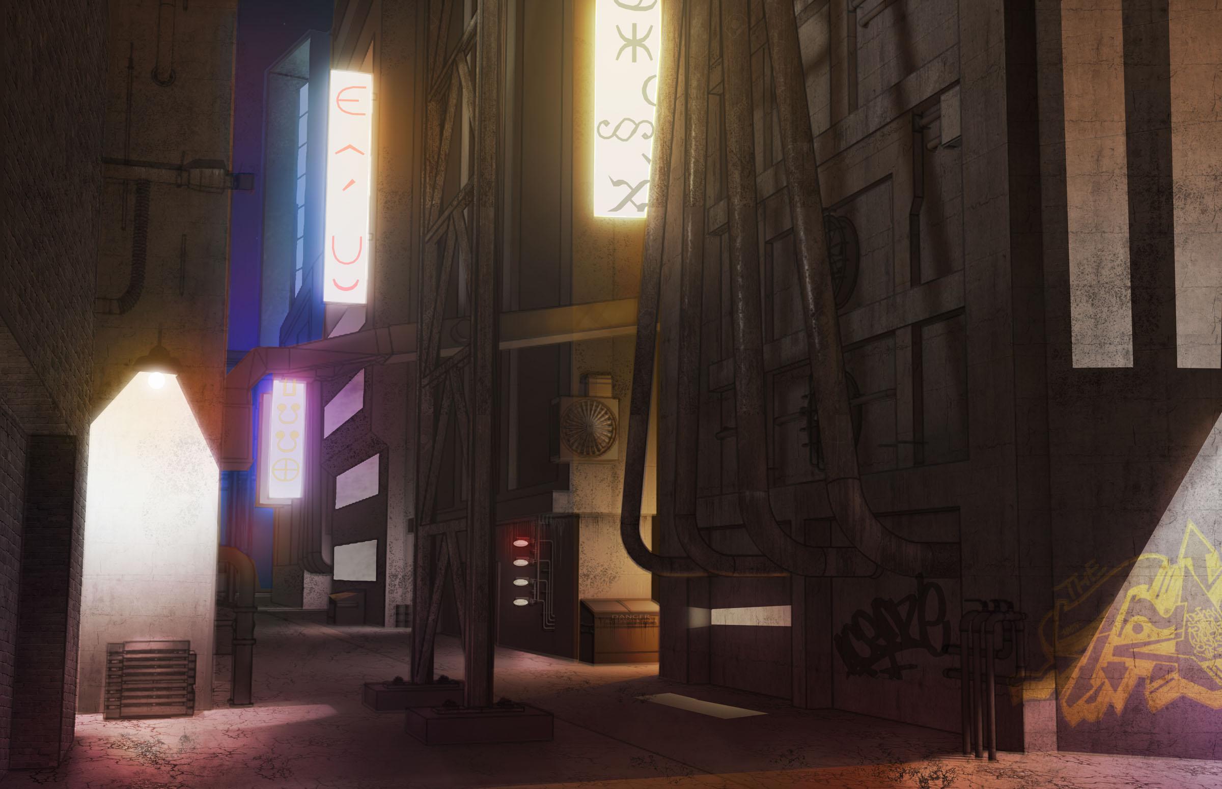 Digital Painting - Distopian City Alley Concept