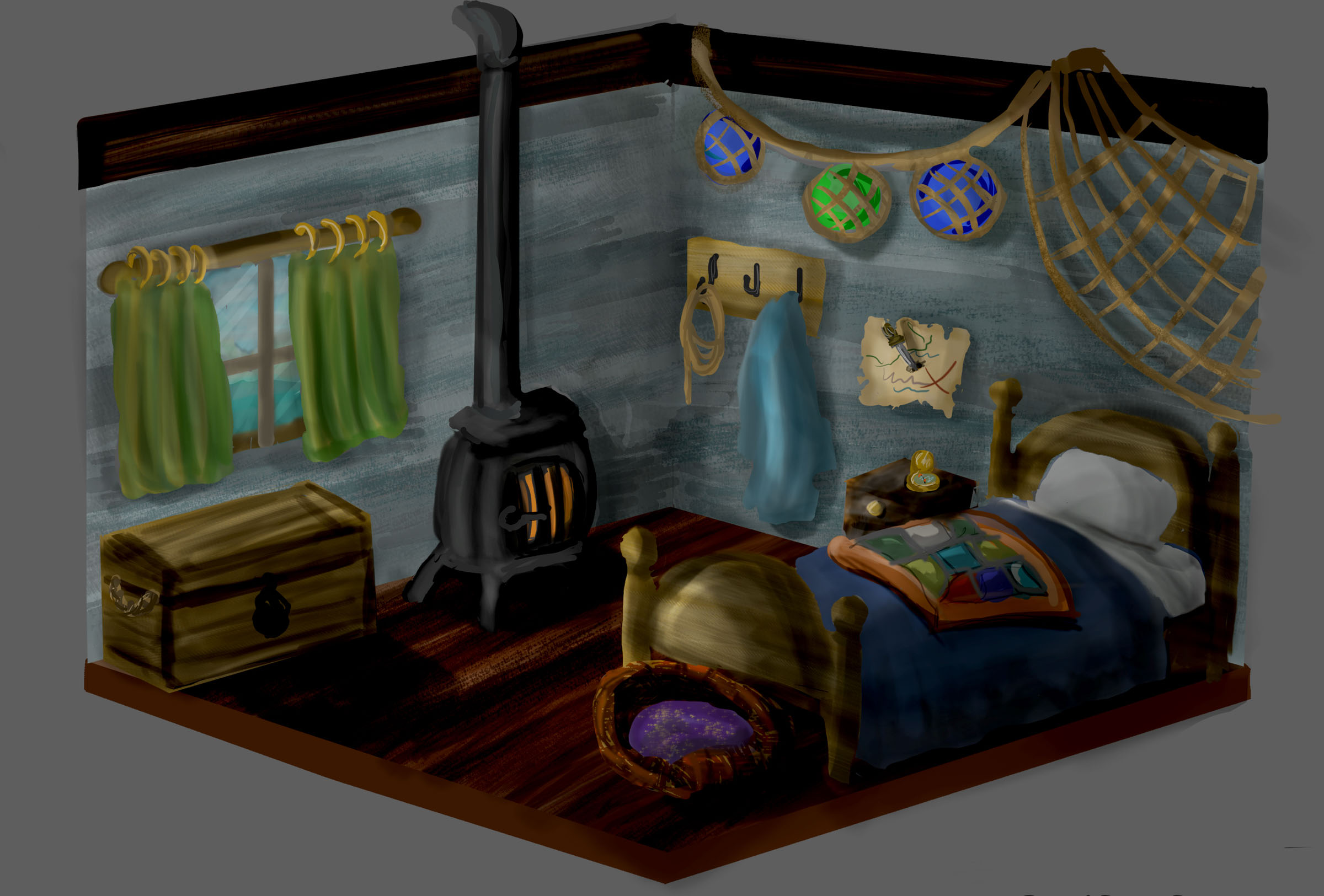 Character Bedroom Concept- A designed personal space concept given a character description and breakdown