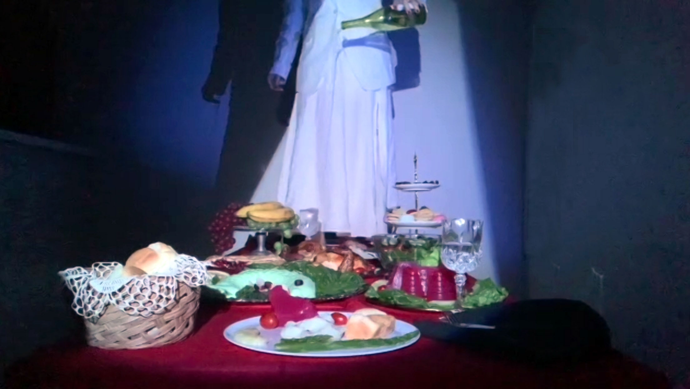 Still of a live performance adapation of the Bergman film Cries and Whispers, directed by Genevieve Fowler