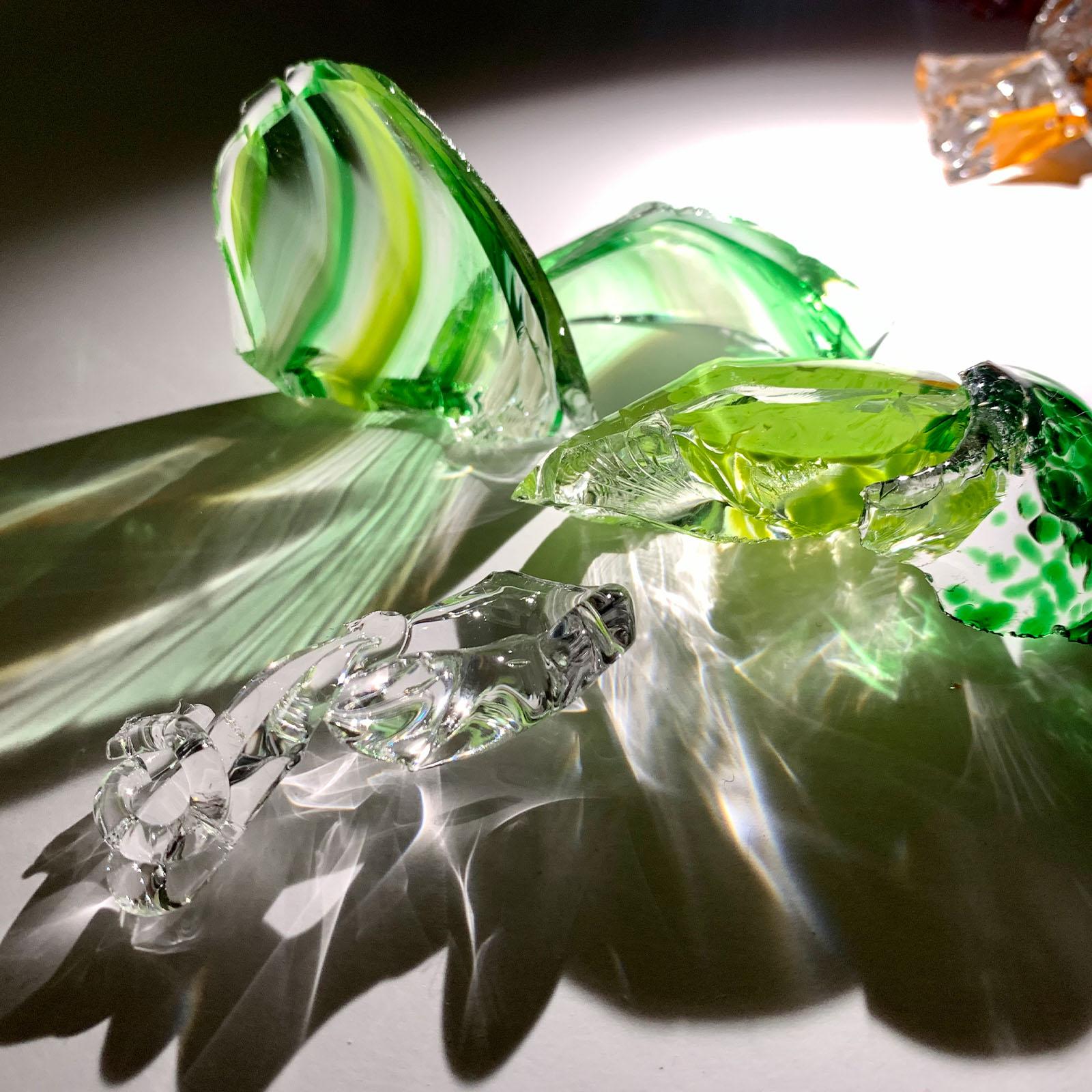 Glass Studies- Light shining through glass sculpture