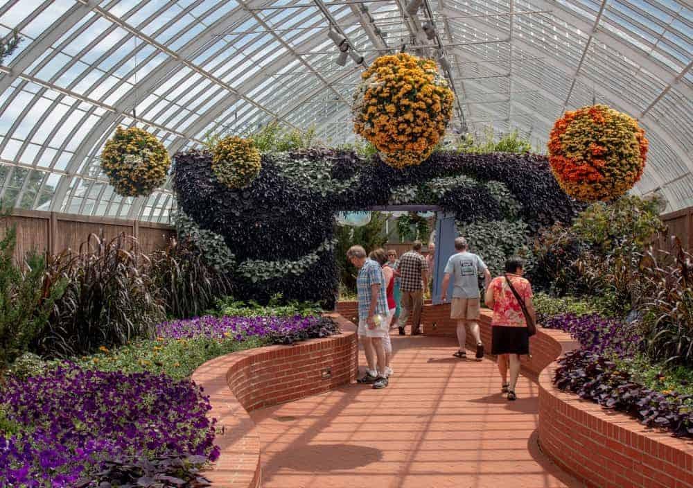 Groups of people walking and viewing botanical gardens