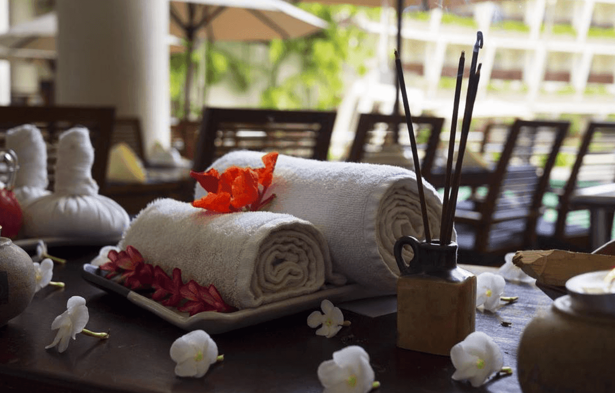 Rolled towels on table