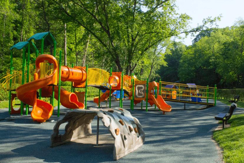 Colorful park playground at War Memorial Park