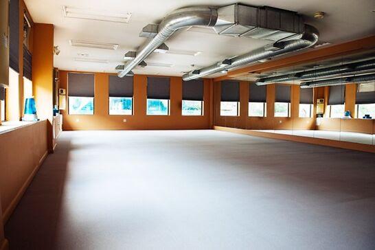 An empty yoga studio.