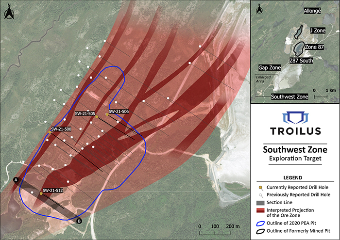 Figure 1: Plan View Map of Southwest Zone with Location of New Drill Results