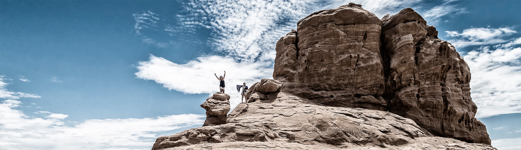 Tourists in Damaraland, Namibia on a bright sunny day