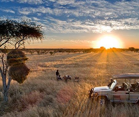 A sundowner game drive in Namibia