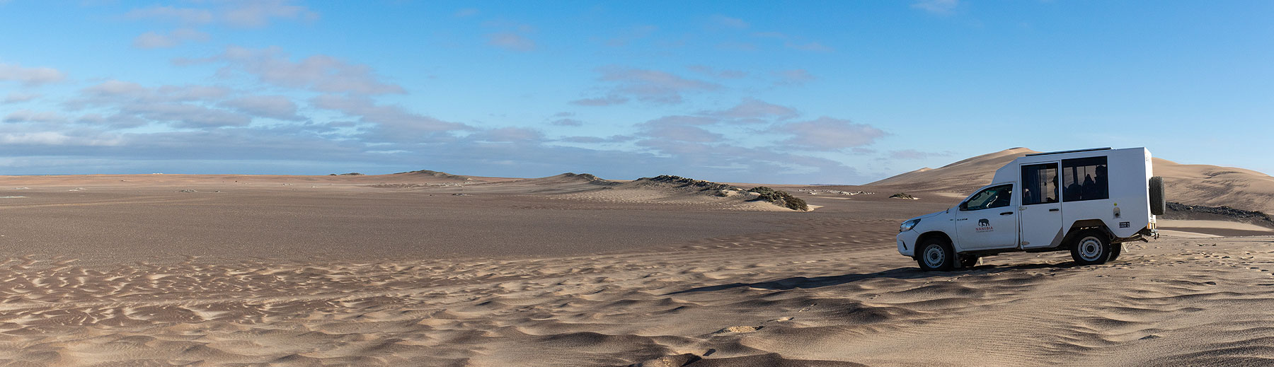 Our safari game drive vehicle on an adventure in the Swakopmund dunes