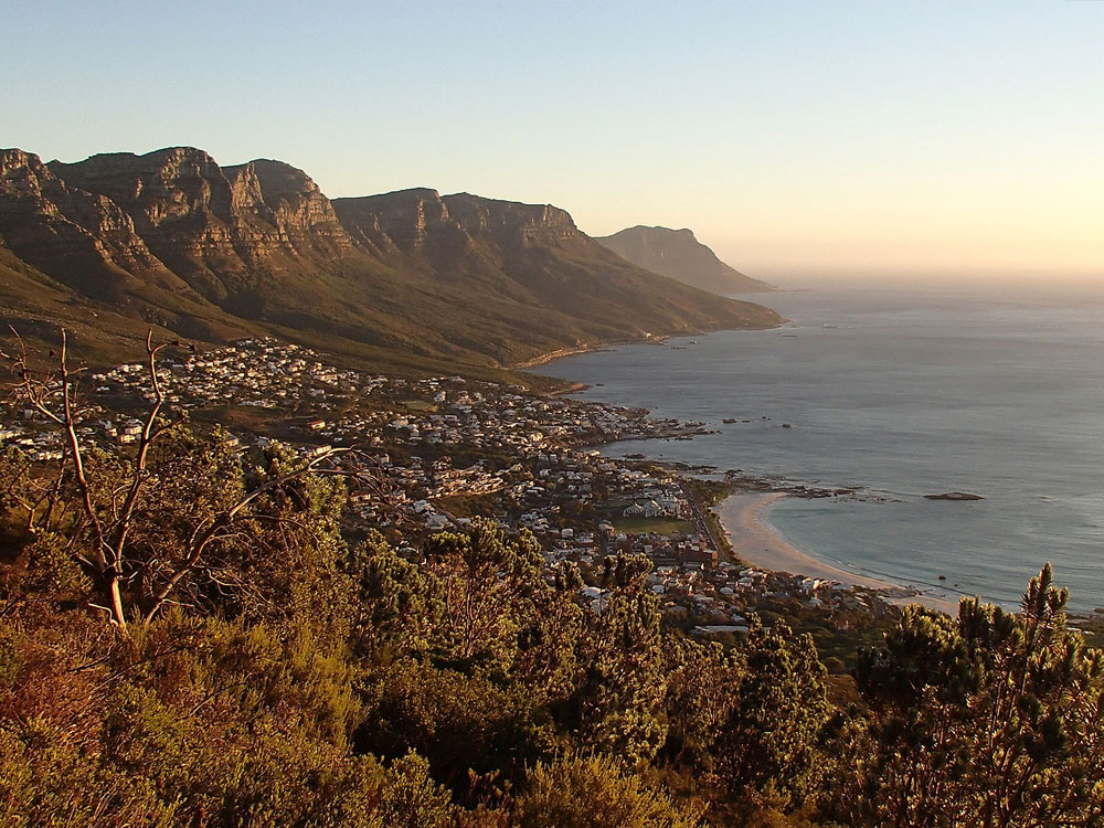 An aerial view from a mountain over Camps Bay, Cape Town.