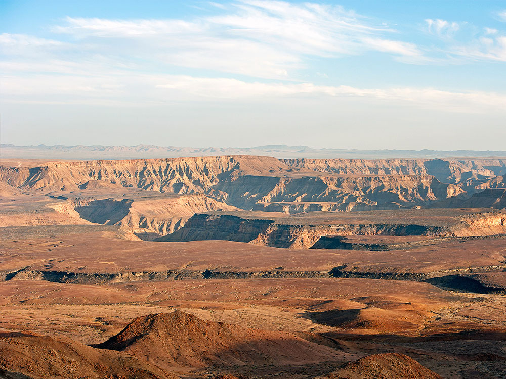 A panoramic view over the Fish River Canyon in Namibia.