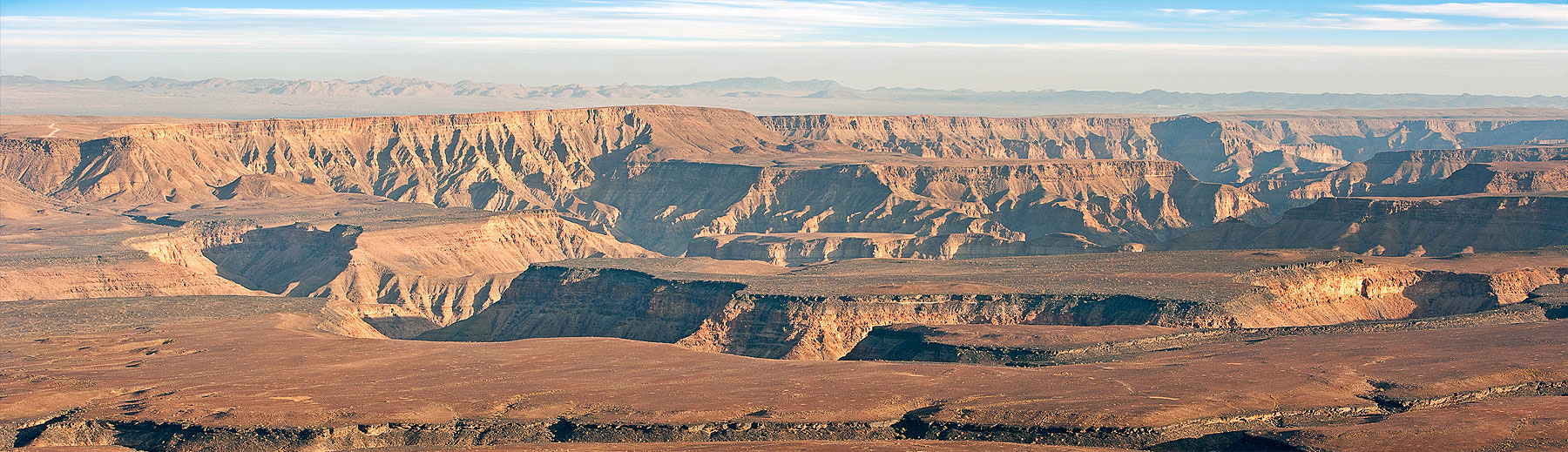 A panoramic view of the Fish River Canyon.
