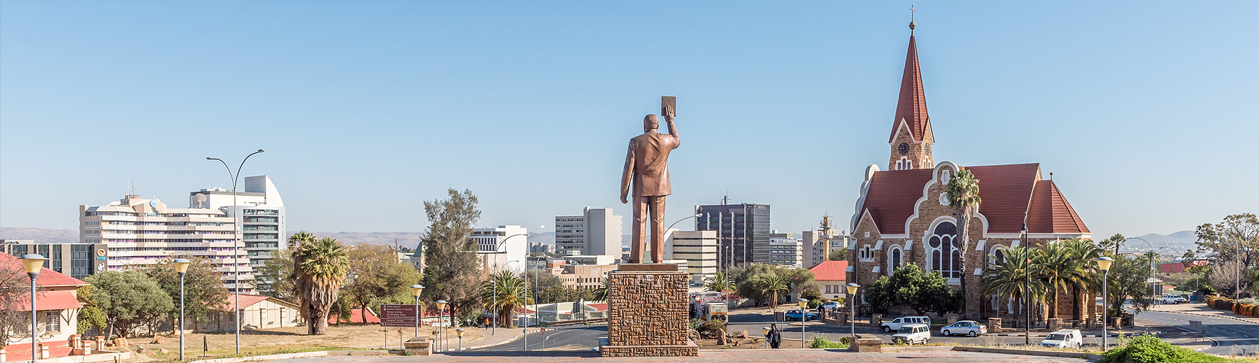 A panoramic view of Windhoek city and the iconic Christ Church taken from behind the Independence Memorial statue.