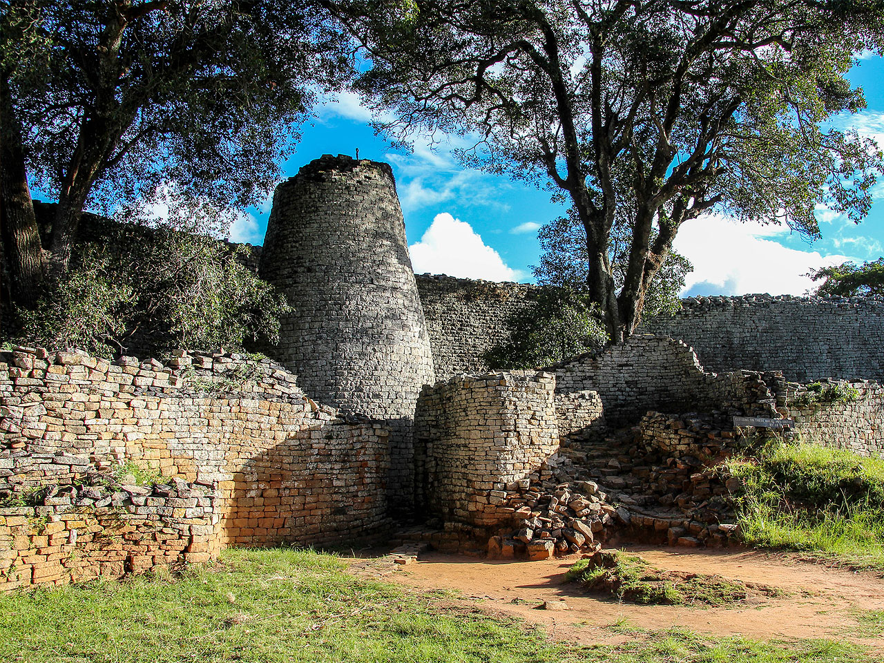 The national monument of the Great Zimbabwe ruins.