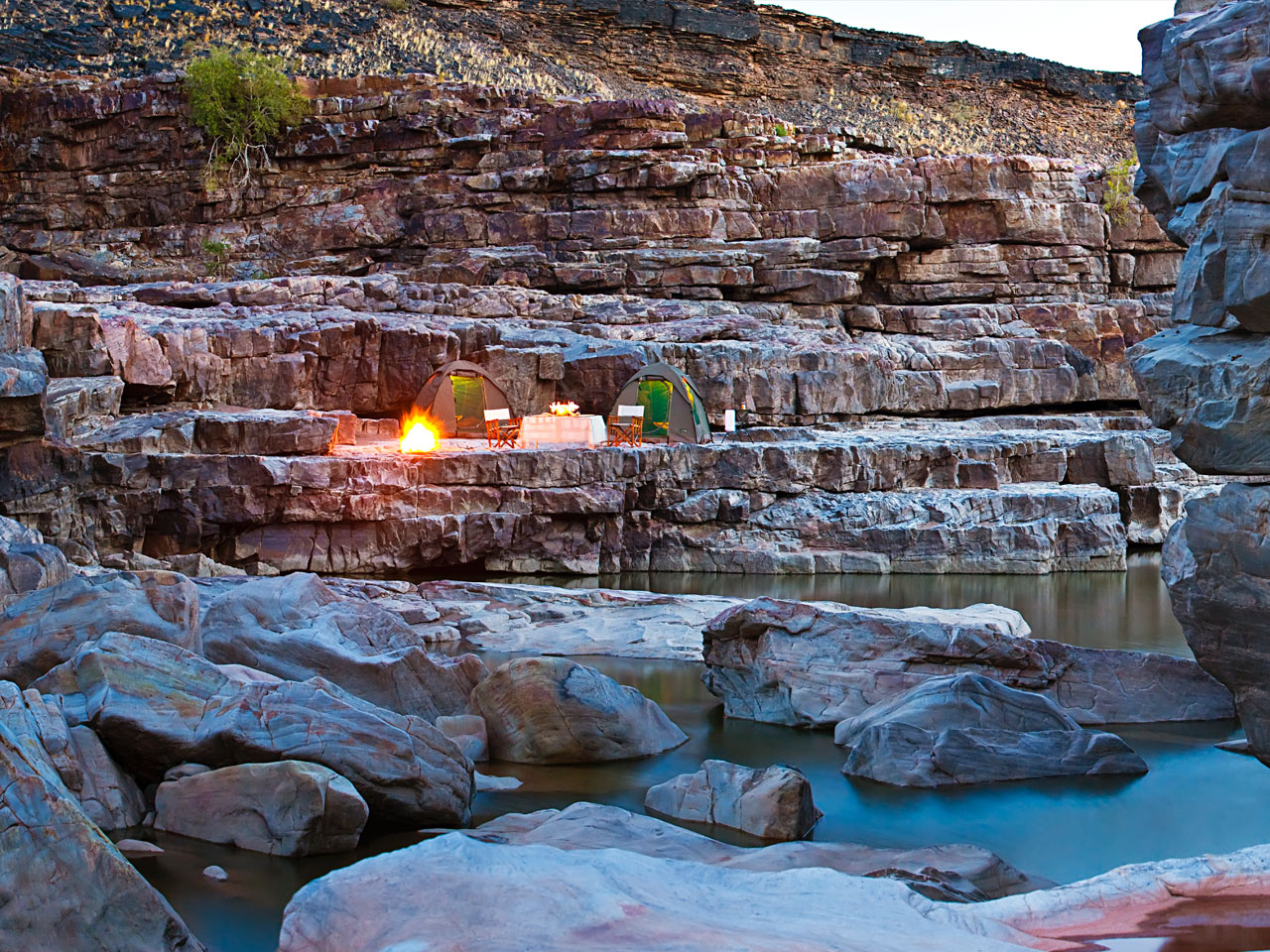A camp and two tents set up at a stop in the Fish River Canyon.