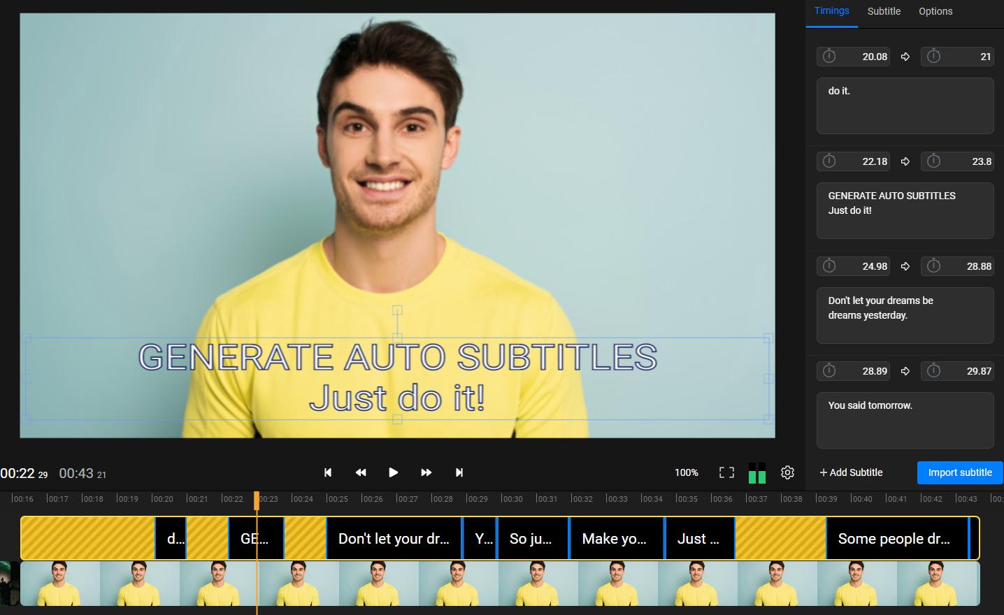 Easy to use auto subtitle generator