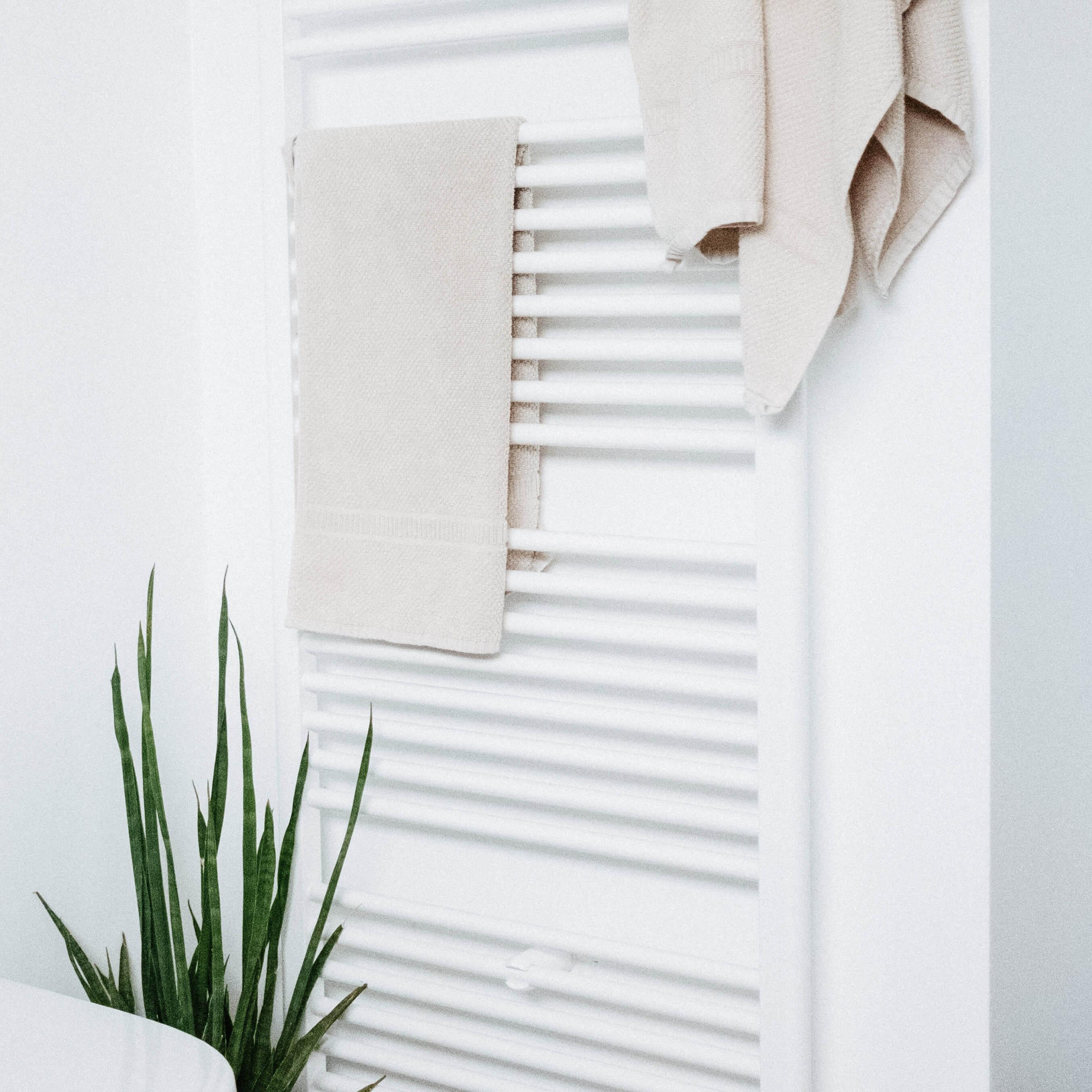 Centrale verwarming in witte badkamer met groene plant als accent.