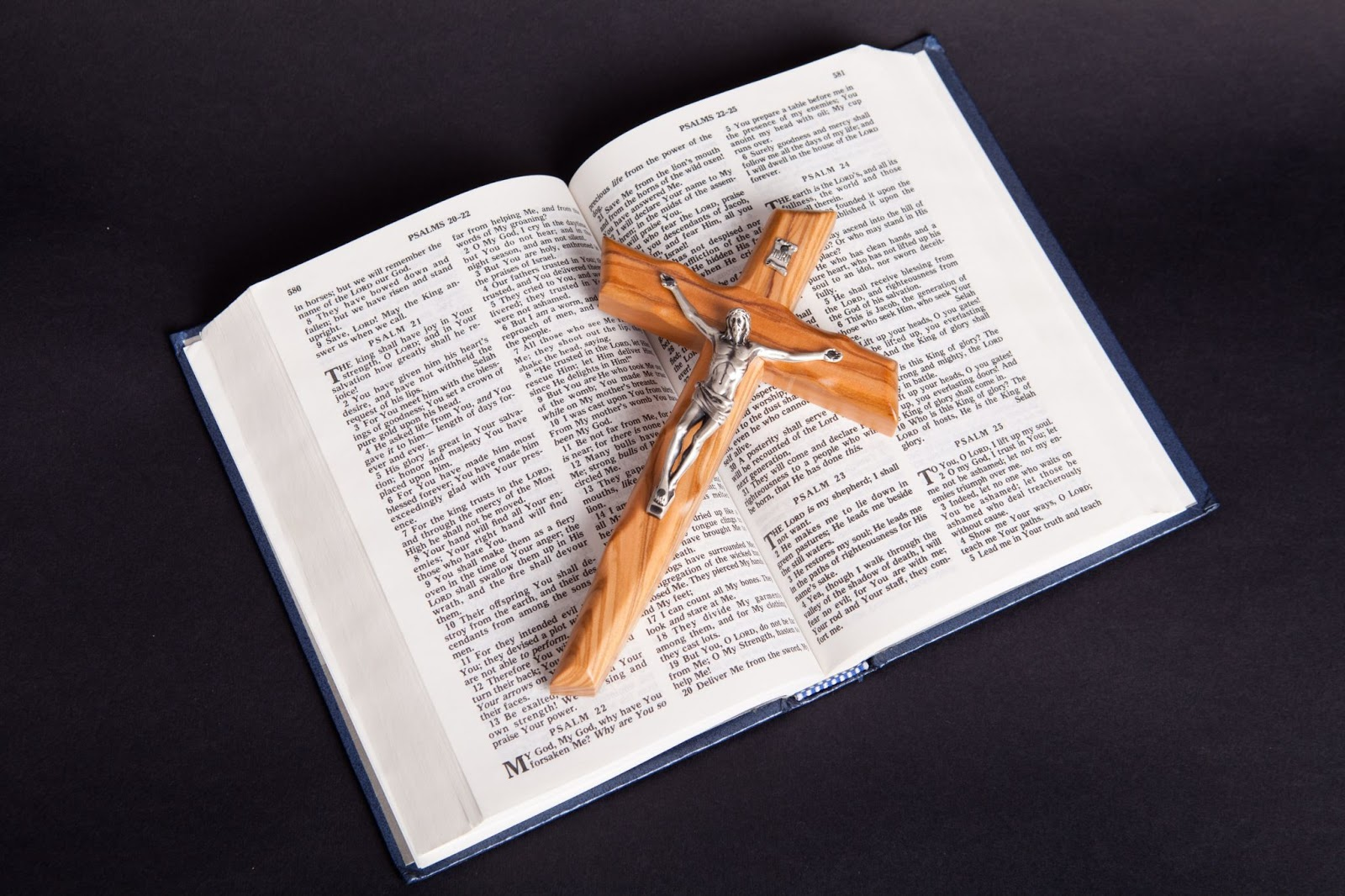 The Bible, open with a crucifix on top