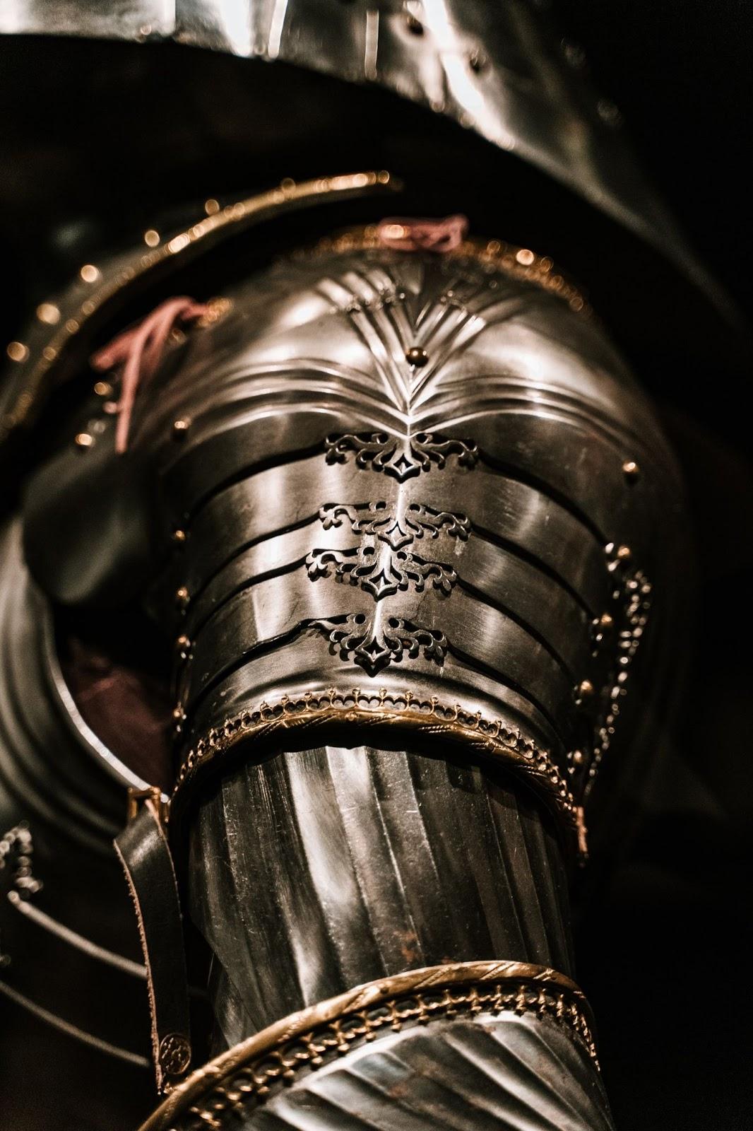 close up of a shoulder piece of armor