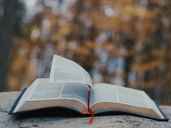 An open Bible sits outdoors