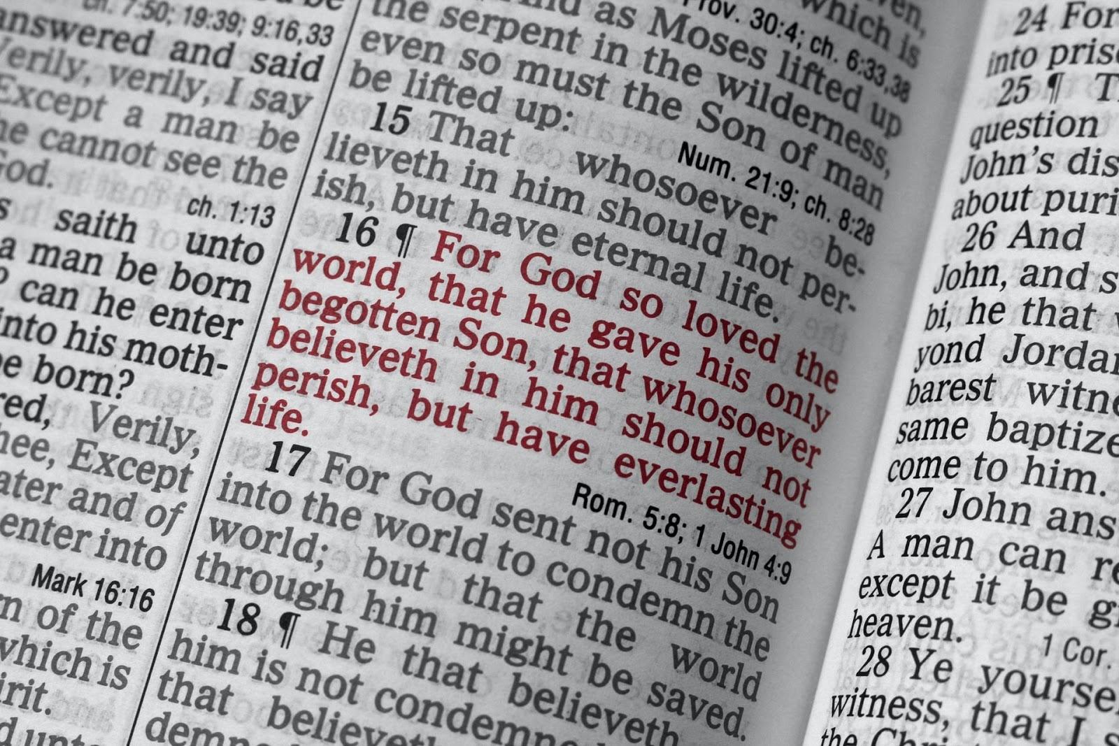 close up of bible verses
