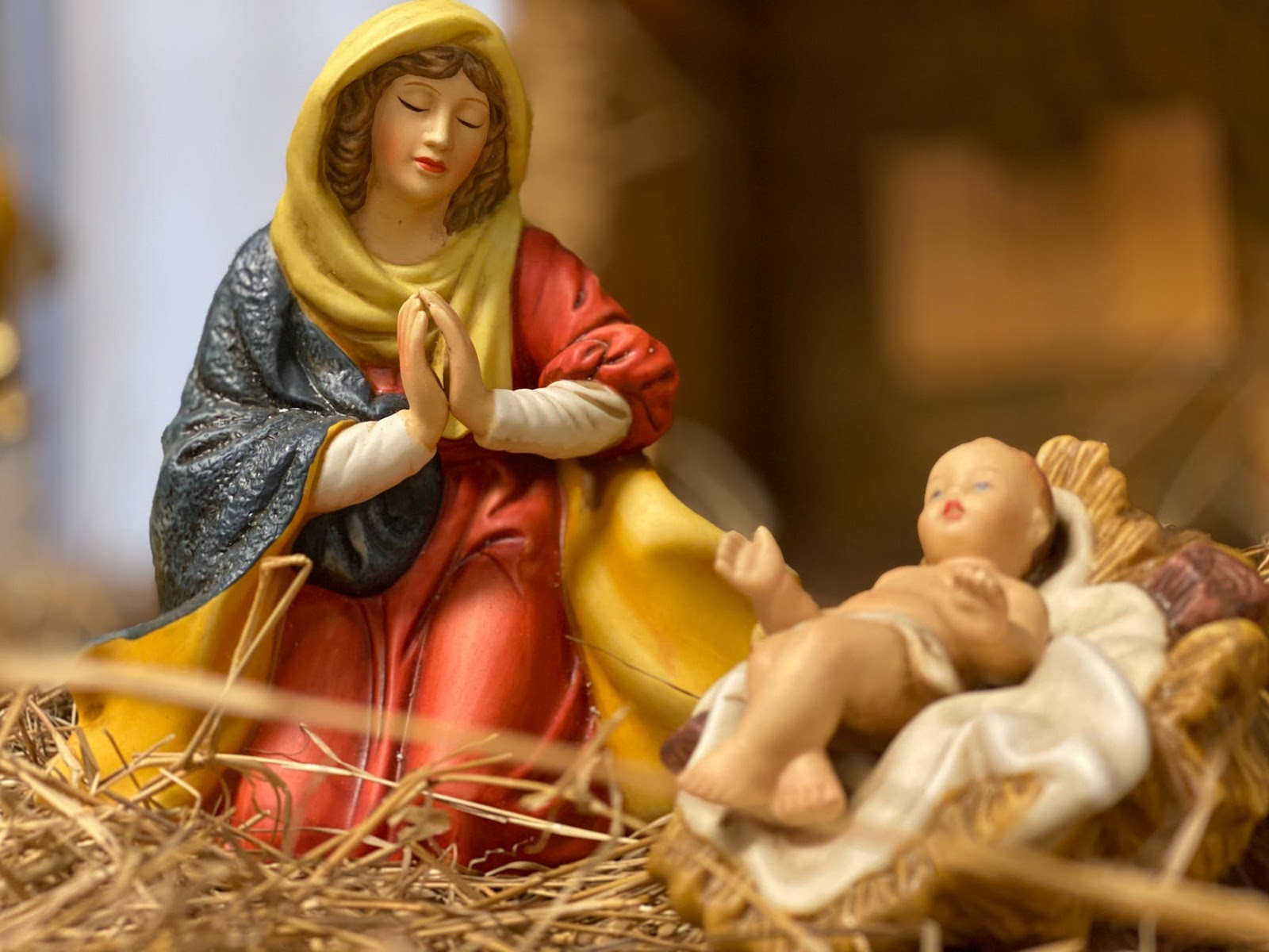 Nativity statues of Mary and baby Jesus