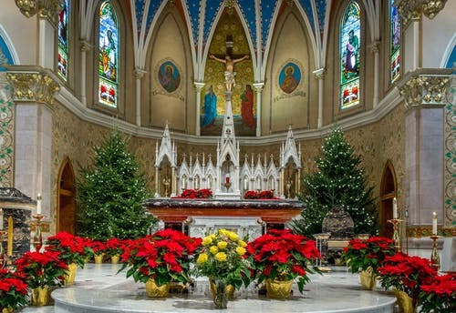 The inside of a church as Christmas time