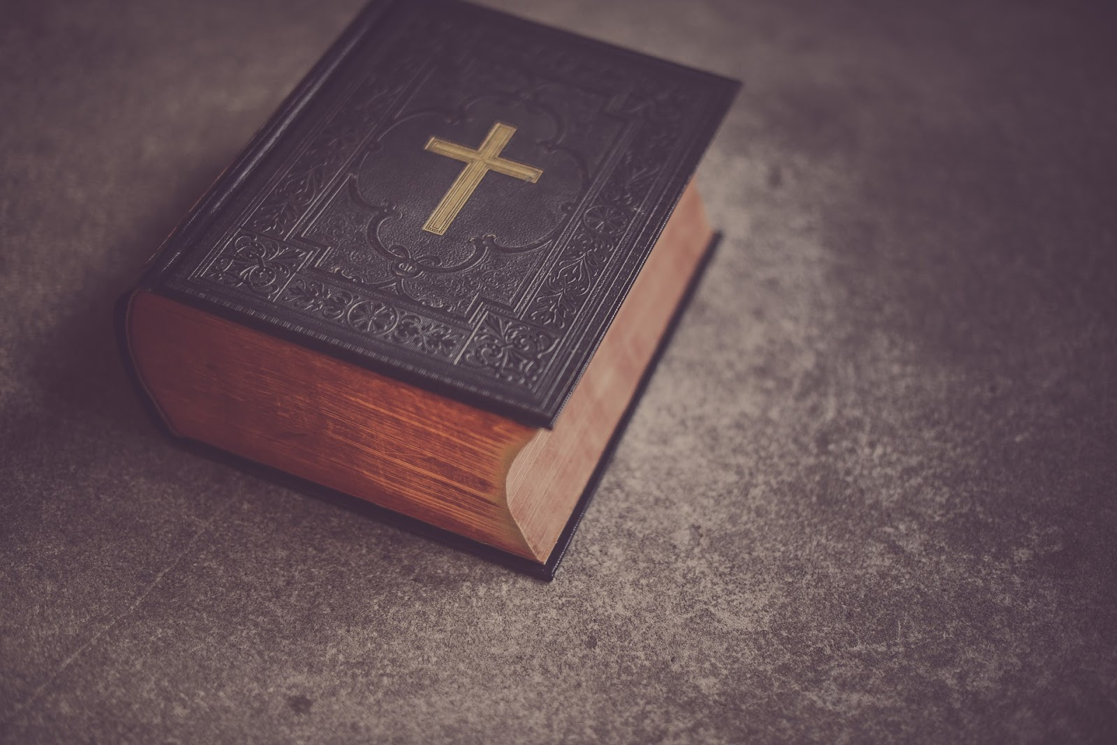 bible with a cross