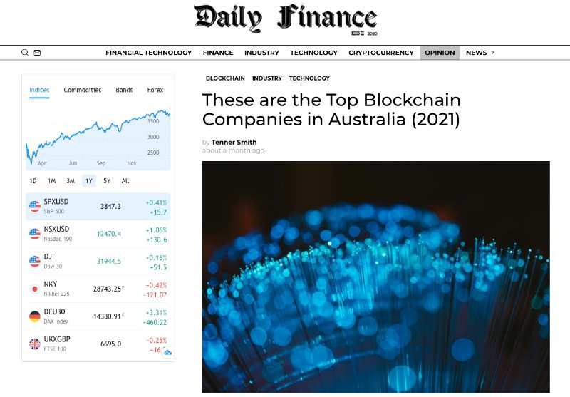 AgUnity featured in the Daily Finance as one of the Top Blockchain Companies in Australia for 2021