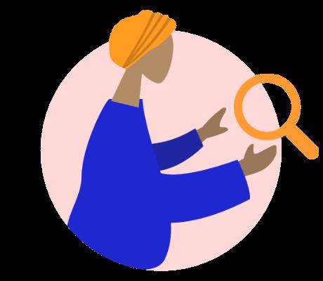 mulher com lupa na mão