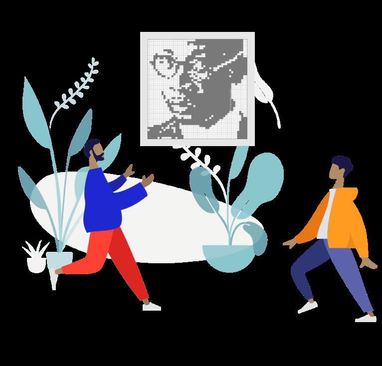 Duas pessoas com um quadro de um autor literário